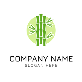 Circle and Green Bamboo logo design