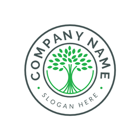 Circle and Green Tree logo design