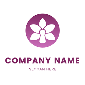 Circle and Orchid Icon logo design