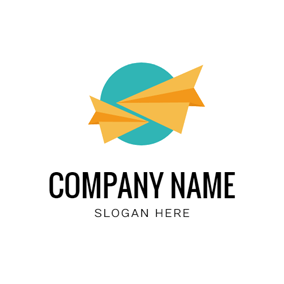 Circle and Origami Plane logo design