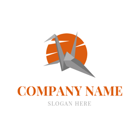 Circle and Paper Crane logo design