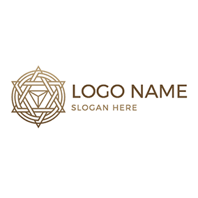 Circle and Triangle Hexagram logo design