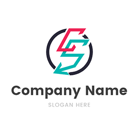 Circle Arrow Letter C S logo design