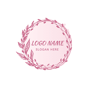 Circle Branch Garland Watercolor logo design