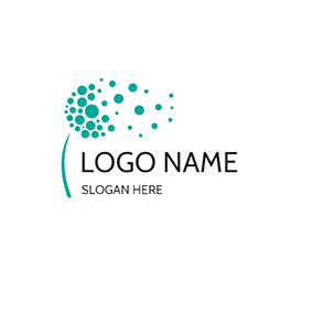 Circle Dot and Abstract Dandelion logo design