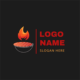Circle Grill Fire and Bbq logo design