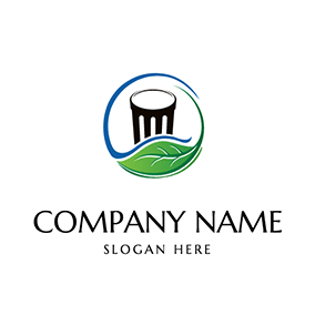 Circle Leaf Bin Design logo design
