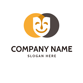 Circle Mask Smile Drama logo design