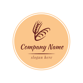 Circle Red and Brown Wheat logo design