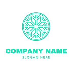Circle Snowflake and Frost logo design