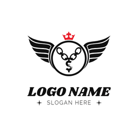 Circle Wings and Necklace logo design