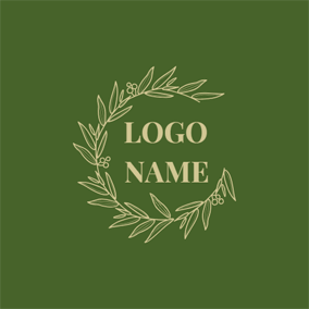 Circumjacent Green Hollow Leaves logo design