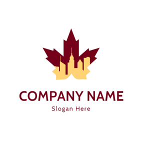 City and Maple Leaf Icon logo design