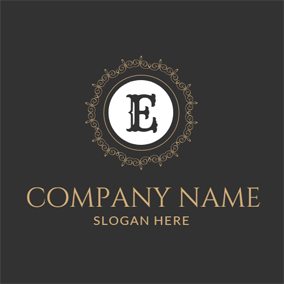 Black And Brown Film Classic Letter E Logo Design