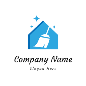 Clean House and White Broom logo design
