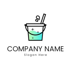Cleaning Mop and Bucket logo design