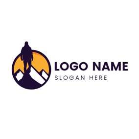 Climber and Mountain Icon logo design