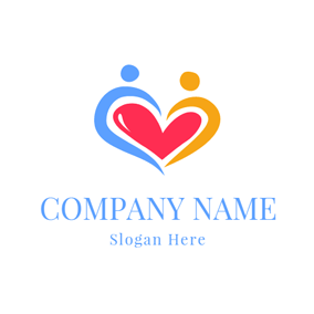 Close Couple and Red Heart logo design