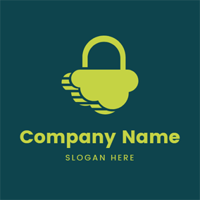 Cloud Shape and Lock logo design