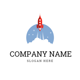 Cloud Shape and Rocket logo design