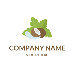 Coconut Tree and Brown Coconut logo design