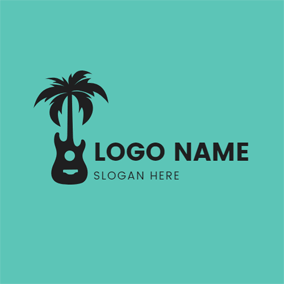 Coconut Tree and Guitar Outline logo design