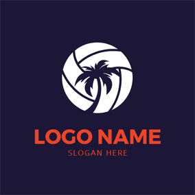 Coconut Tree and Volleyball logo design