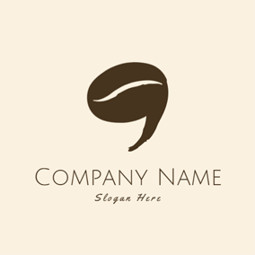 Coffee Bean and Comma Symbol logo design