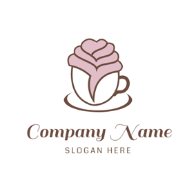 Coffee Cup and Rose Shape logo design
