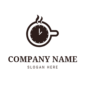 Coffee Cup Circle Clock Time logo design