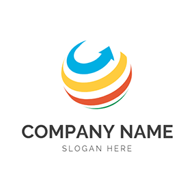 Color Arrow Globe Stripe Spiral logo design