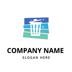 Color Shape Clean Bin logo design