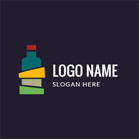 Colorful Alcohol Bottle Icon logo design