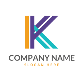 Colorful and Crossed Letter K logo design