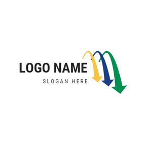 Colorful Arrow and Arch logo design