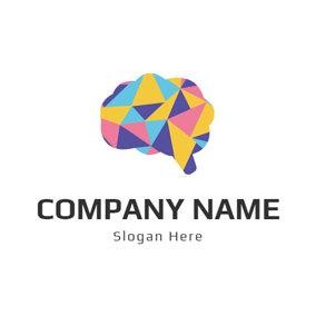 Colorful Brain Icon logo design