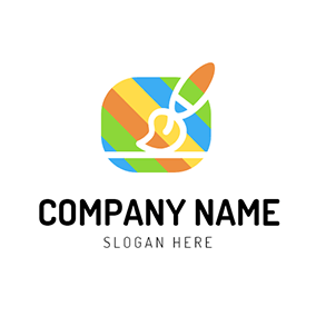 Colorful Brush and Paint logo design