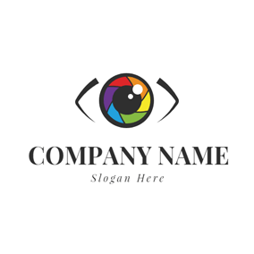 Colorful Camera Lens Icon logo design