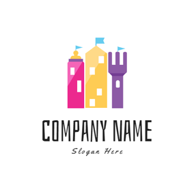 Colorful Castle and Baby Fork logo design
