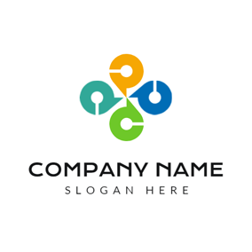 Colorful Centripetal Circle Company logo design