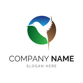 Colorful Circle and White Hummingbird logo design