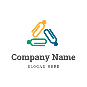 Colorful Clip and Unique Human logo design