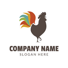 Colorful Cock Tail and Chicken logo design