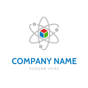 Colorful Cube and Gray Atom logo design