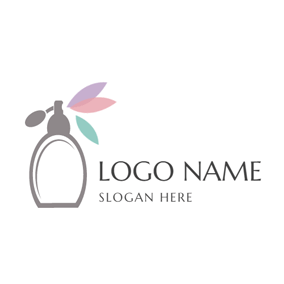 Colorful Decoration and Gray Perfume Bottle logo design