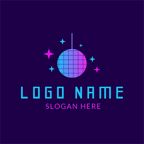 Colorful Disco Ball Icon logo design