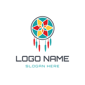 Colorful Flower and Feather Dreamcatcher logo design