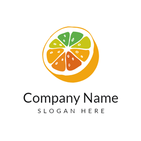 Colorful Flower and Orange logo design