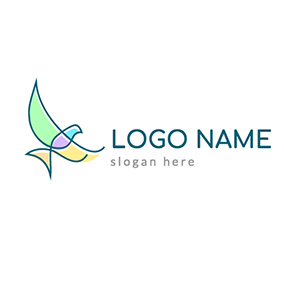 Colorful Flying Peace Dove logo design