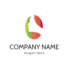 Colorful Hair and White Female Head logo design